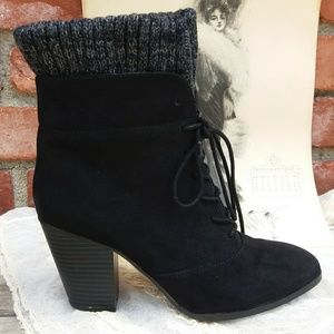 JustFab Black Faux Suede Lace Up Boot Bootie